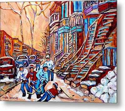 Pointe St.charles Hockey Game Near Winding Staircases Montreal Winter City Scenes Metal Print by Carole Spandau