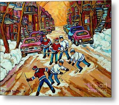 Pointe St.charles Hockey Game Winter Street Scenes Paintings Metal Print by Carole Spandau