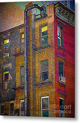 Pointillism In Steel And Brick Metal Print by Miriam Danar