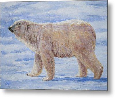 Polar Bear Mini Painting Metal Print by Crista Forest
