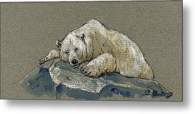 Polar Bear Sleeping Metal Print by Juan  Bosco