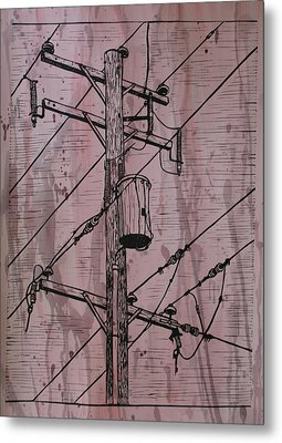 Pole With Transformer Metal Print by William Cauthern