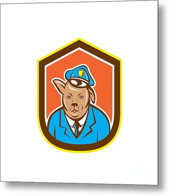 Police Dog Canine Shield Cartoon Metal Print by Aloysius Patrimonio
