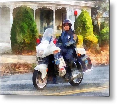 Police - Suburban Motorcycle Cop Metal Print by Susan Savad