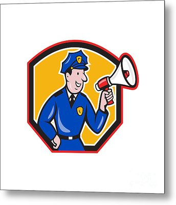 Policeman Shouting Bullhorn Shield Cartoon Metal Print by Aloysius Patrimonio