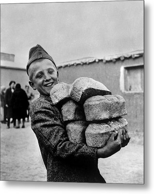 Polish Youngster With Bread Made Metal Print by Everett