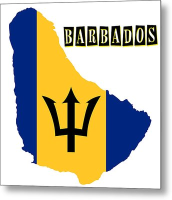 Political Map Of Barbados Metal Print by Celestial Images
