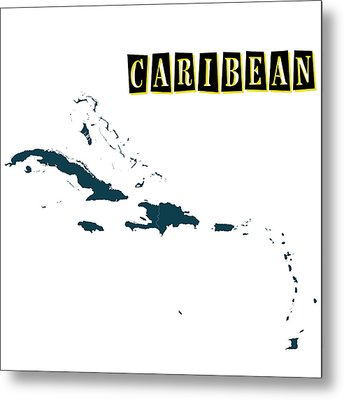 Political Map Of Caribean Metal Print by Celestial Images