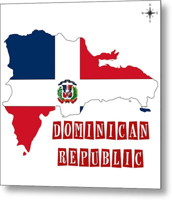 Political Map Of Dominican Republic Metal Print by Celestial Images