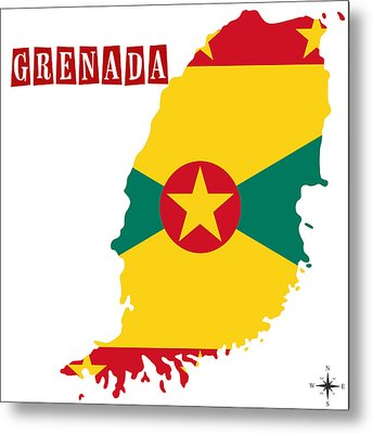 Political Map Of Grenada Metal Print by Celestial Images
