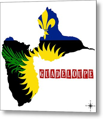 Political Map Of Guadeloupe Metal Print by Celestial Images