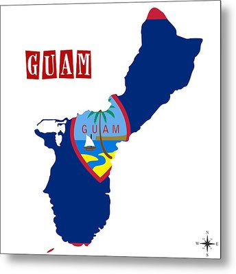 Political Map Of Guam Metal Print by Celestial Images