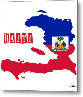 Political Map Of Haiti Metal Print by Celestial Images