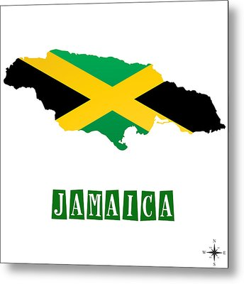 Political Map Of Jamaica Metal Print by Celestial Images