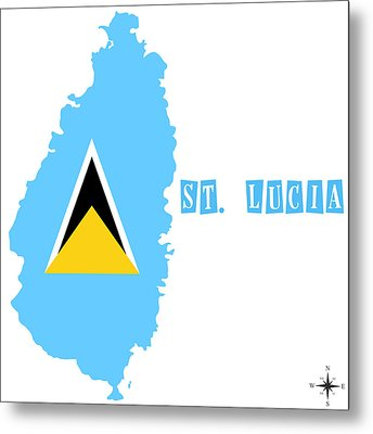 Political Map Of St Lucia Metal Print by Celestial Images