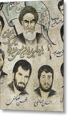 Political Religious Mural Teheran Iran With Ayatollah Khomeini Metal Print by Jacek Malipan