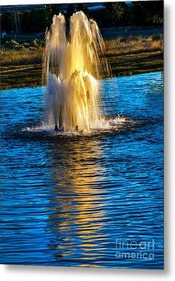 Pond Fountain Metal Print by Robert Bales