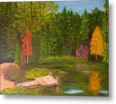 Pond In The Blue Ridge Metal Print by Sally Jones