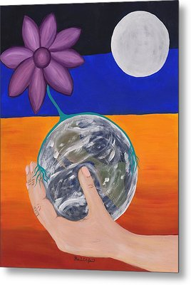 Pondering Creation Hand And Globe Metal Print by Barbara St Jean
