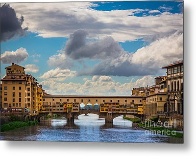 Ponte Vecchio Clouds Metal Print by Inge Johnsson