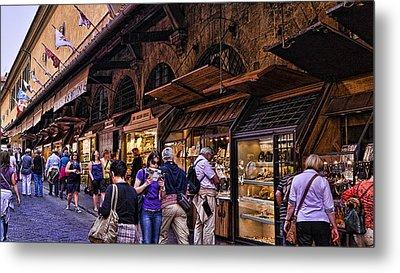 Ponte Vecchio Merchants - Florence Metal Print by Jon Berghoff