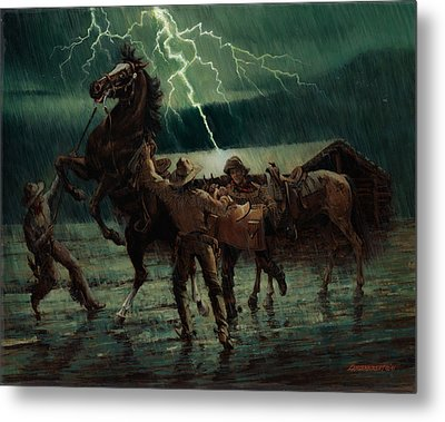 Pony Express In Rain Metal Print by Don  Langeneckert