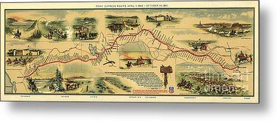 Pony Express Map William Henry Jackson Metal Print by William Henry Jackson
