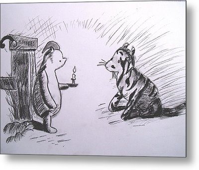 Pooh And Tigger Metal Print by Jessica Sanders