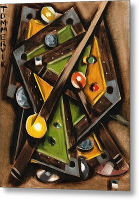 Abstract Cubism Pool Table Art Print Metal Print by Tommervik