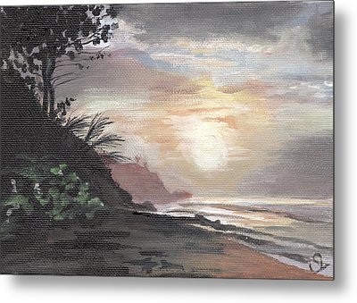 Pools Beach Sunset Metal Print by Sarah Lynch