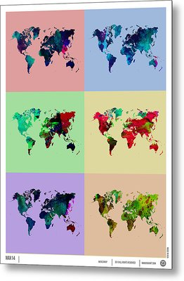 Pop Art World Map Metal Print by Naxart Studio
