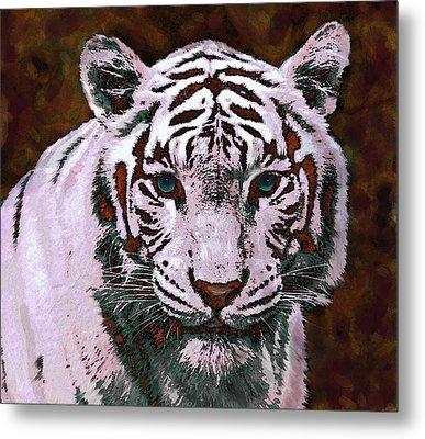 Popart White Tiger- Larger Metal Print by Jane Schnetlage