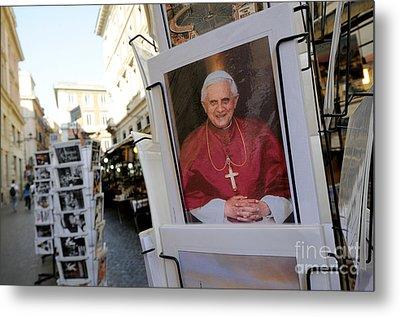 Pope Benedict Xvi. Postcard In A Rack. Rome. Lazio. Italy. Europe Metal Print by Bernard Jaubert