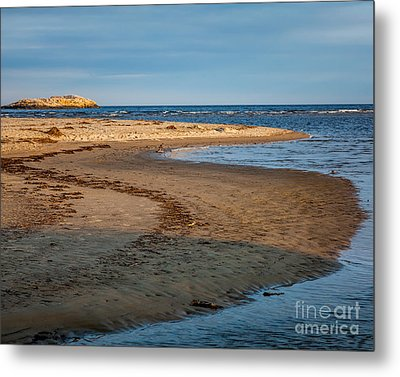 Popham Beach Curve Metal Print by Susan Cole Kelly
