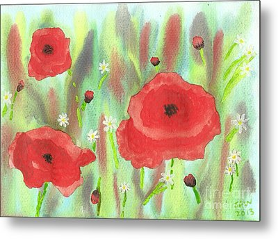 Poppies And Daisies Metal Print by John Williams