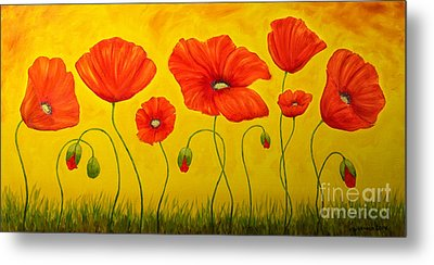 Poppies At The Time Of Metal Print by Veikko Suikkanen