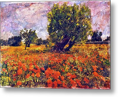 Poppies Of Puglia Metal Print by Steven Boone