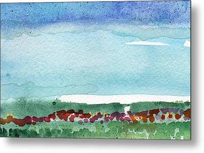 Poppy Field- Landscape Painting Metal Print by Linda Woods