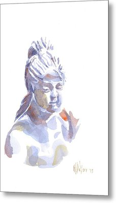 Porcelain Maiden In Watercolor Metal Print by Kip DeVore