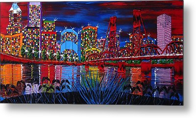 Portland City Lights 33 Metal Print by Portland Art Creations