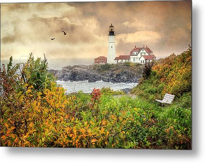 Portland Head In Autumn Metal Print by Lori Deiter