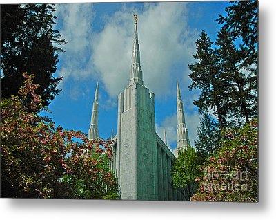 Portland Oregon Lds Temple Metal Print by Nick  Boren