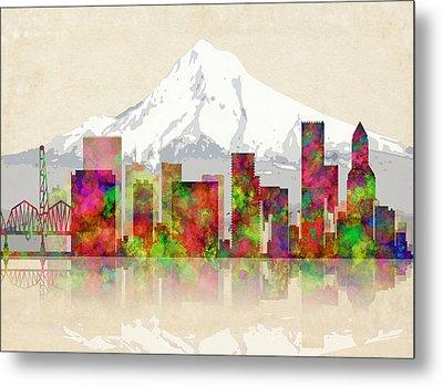 Portland Oregon Skyline Metal Print by Daniel Hagerman