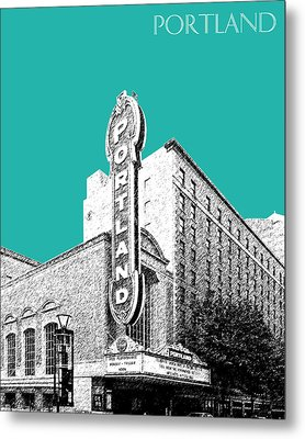 Portland Skyline Portland Theater - Teal Metal Print by DB Artist