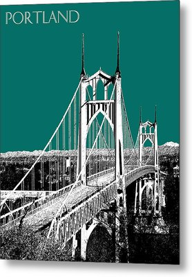 Portland Skyline St. Johns Bridge - Sea Green Metal Print by DB Artist