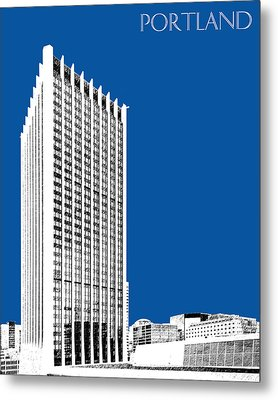 Portland Skyline Wells Fargo Building - Royal Blue Metal Print by DB Artist