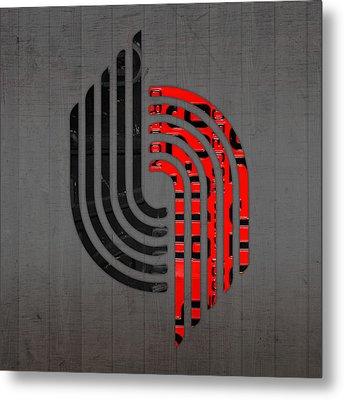 Portland Trailblazers Basketball Team Retro Logo Vintage Recycled Oregon License Plate Art Metal Print by Design Turnpike