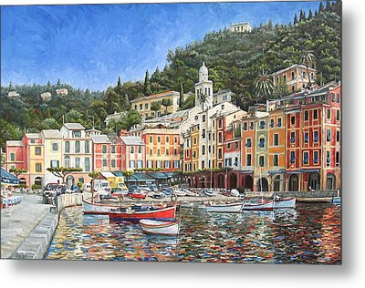 Portofino Italy Metal Print by Mike Rabe