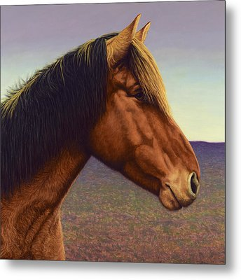Portrait Of A Horse Metal Print by James W Johnson