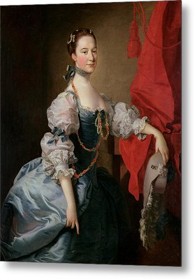 Portrait Of A Lady In A Blue Gown Metal Print by Thomas Hudson